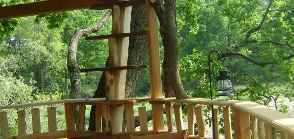Cabane dans les arbres, vue Lac, Chalais