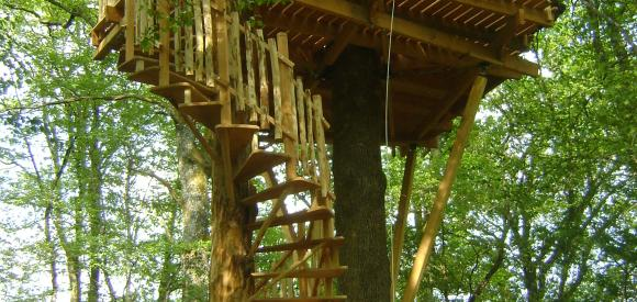 Cabane dans les arbres, vue bois et plaine, Chalais