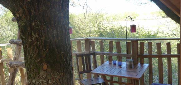 Cabane dans les arbres, vue panoramique, Chalais